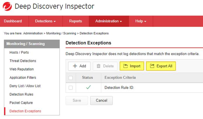 Detection Exceptions