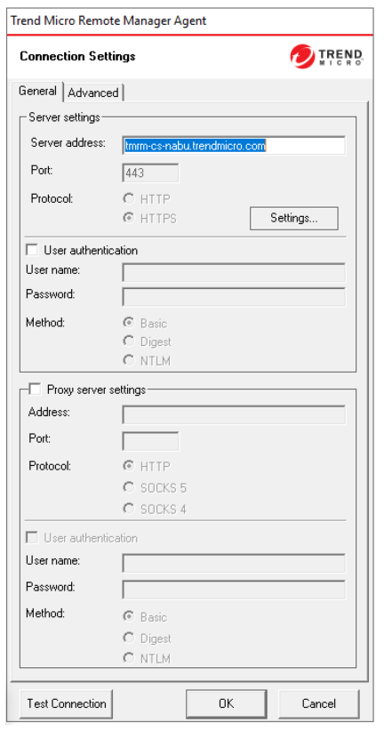 Server Connection Settings