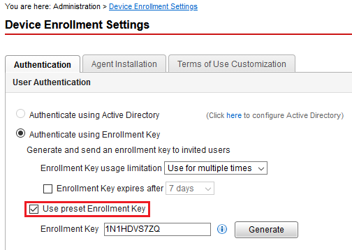 Use preset Enrollment Key