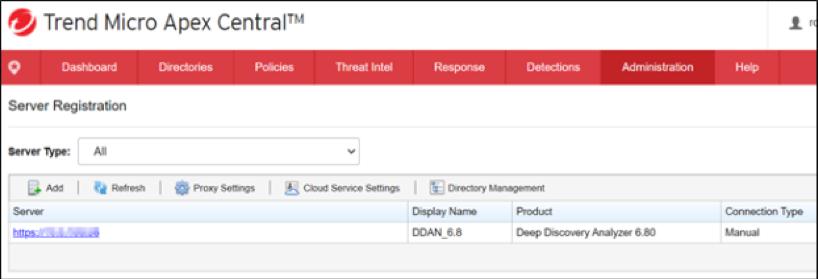 DDAN on Server Registration Page