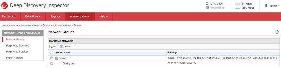 IP Address Range list