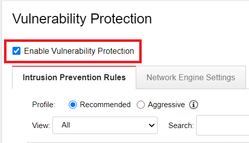 Enable Vulnerability Protection