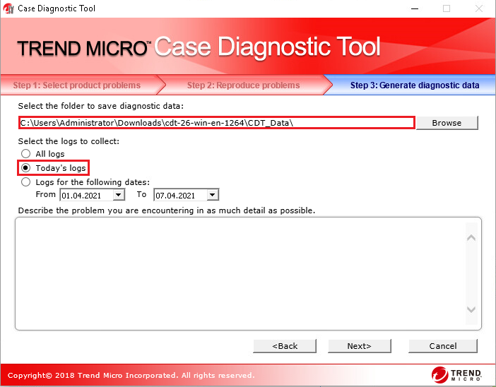 Select Today's log - Case Diagnostic Tool