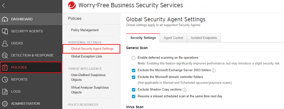 Global Security Agent Settings