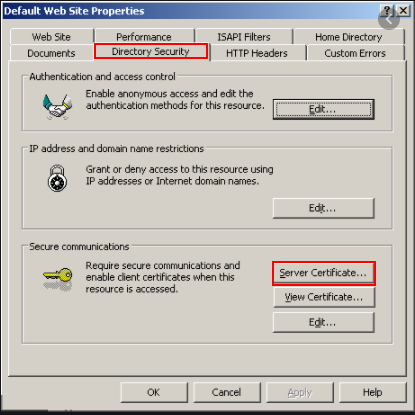 Go to Directory Security tab, and then Select Server Certificate...