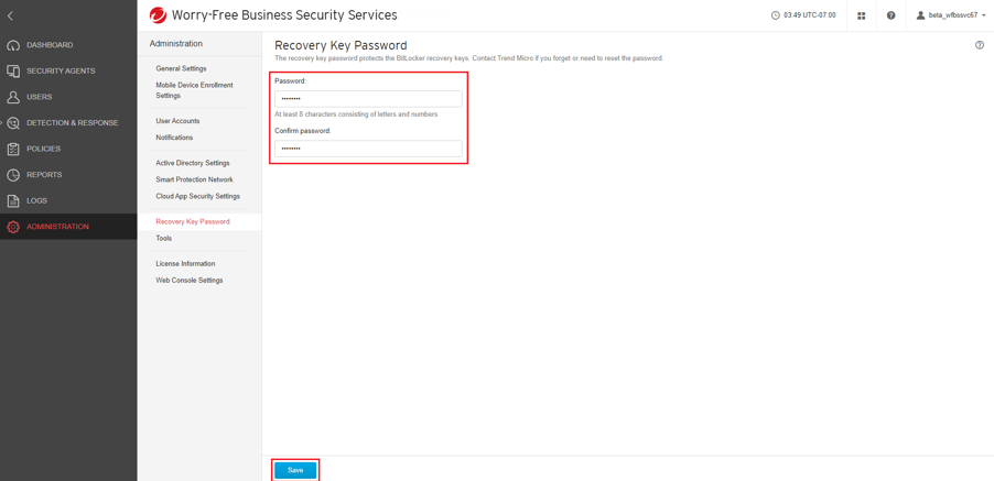 Configure password and Save