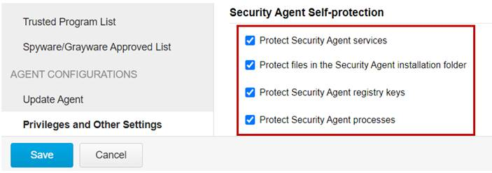 Self-Protection and policy settings