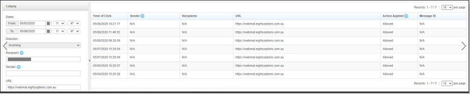 URL Click Tracking Log shows N/A