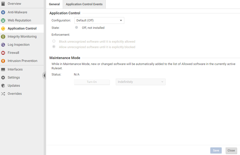 disable the Application Control