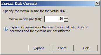 Expand SPS disk size