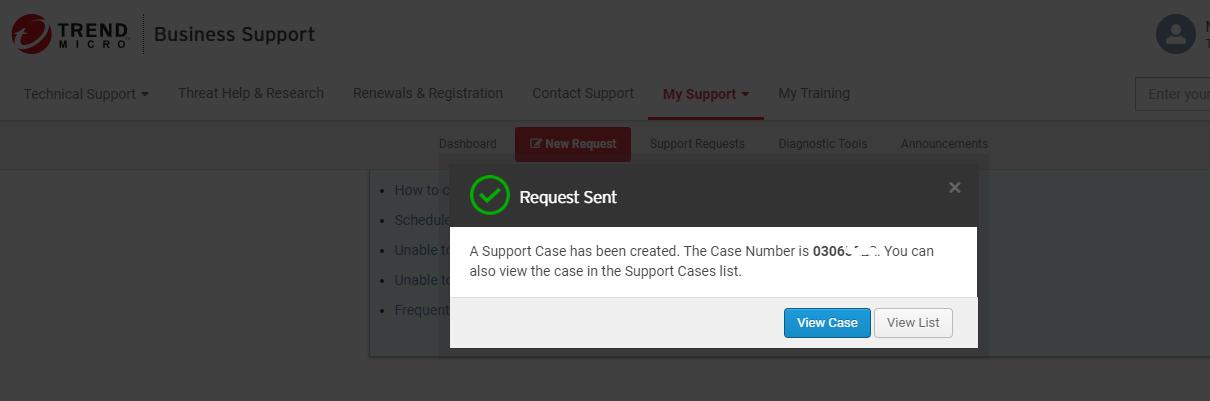 Request Sent notification