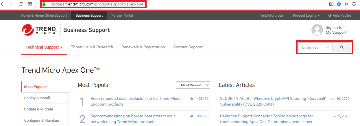 Searching Trend Micro's website