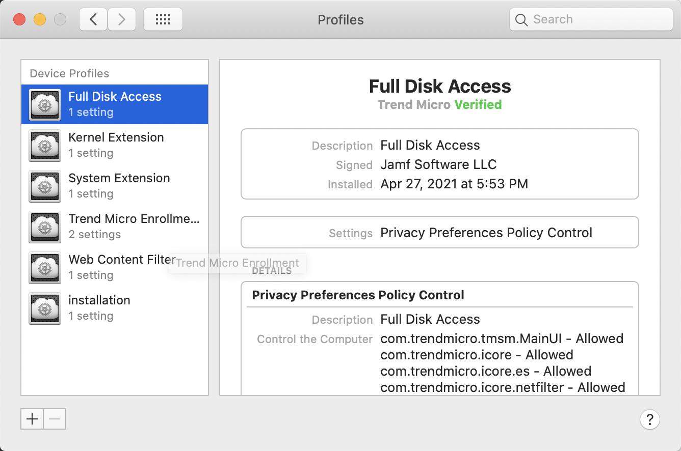 Verify profile configurations