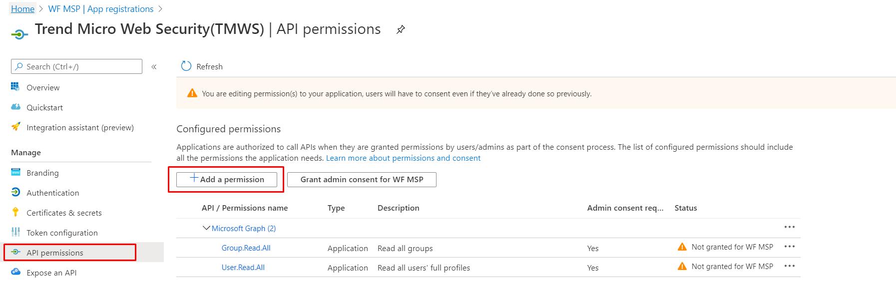 Select Add a permission