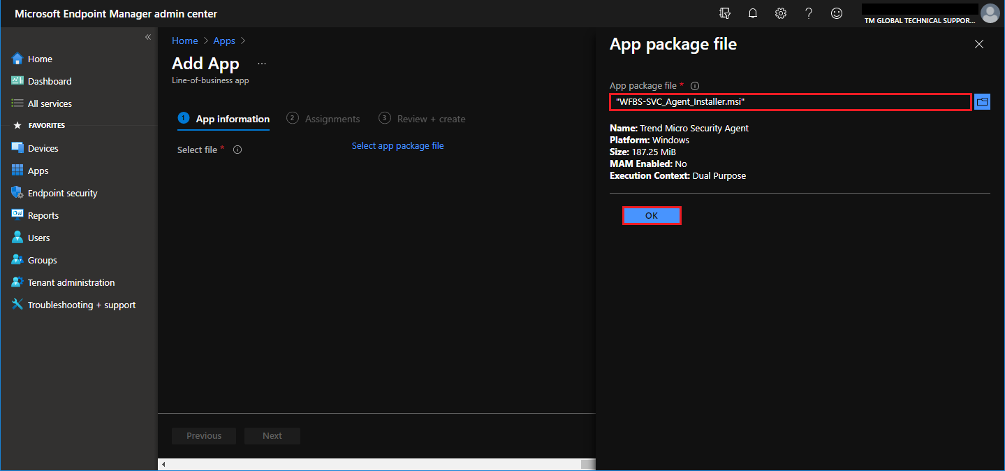 Select app package file