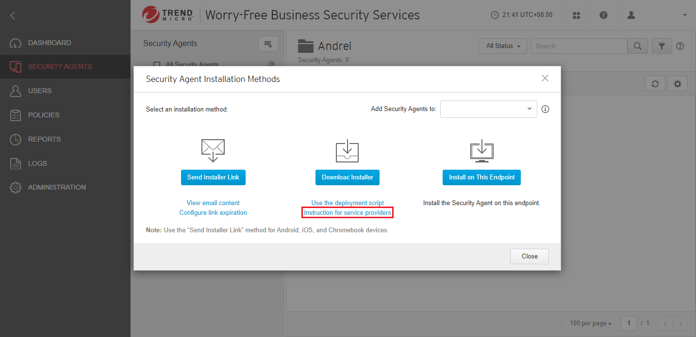 click Instruction to service providers