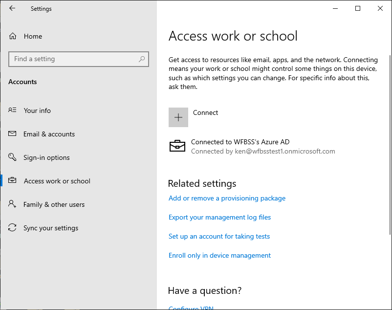 view in Access work or school settings