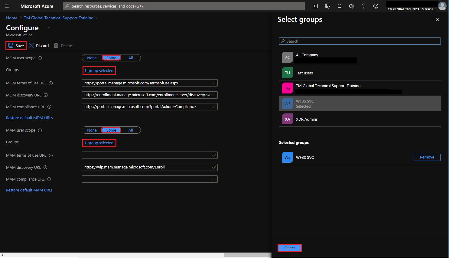 Configure page