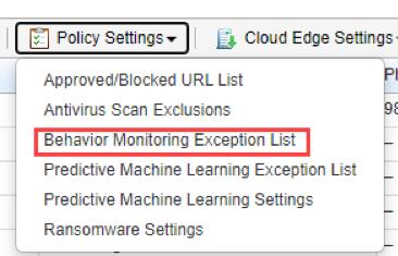 Behavior Monitoring Exception List