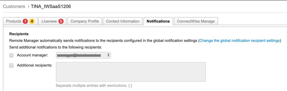Customer Notification Configuration