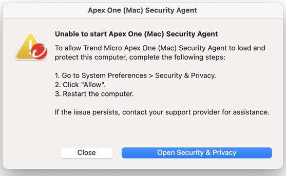 Unable to start Apex One (Mac) Security Agent