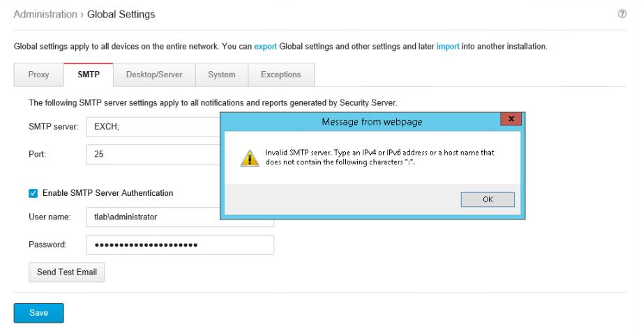 Invalid SMTP Server