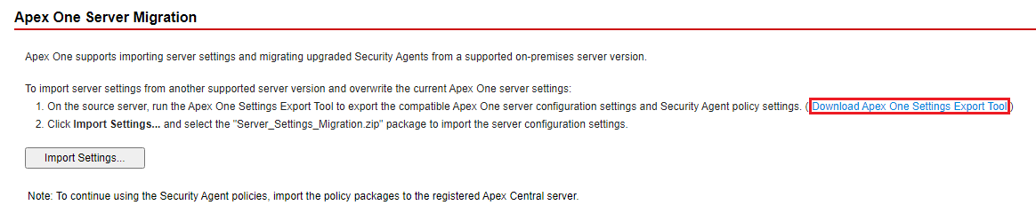 Apex One Settings Export Tool