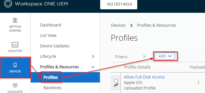 Open the MDM console to access the device profile page