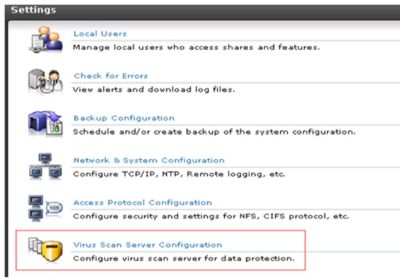 Virus Scan Server Configuration