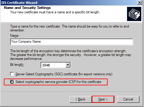 Select cryptographic service provider CSP for this certificate