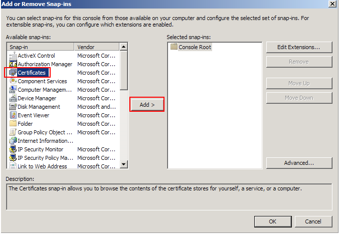 Select Certificates, and then click Add