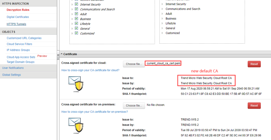 new default CA info