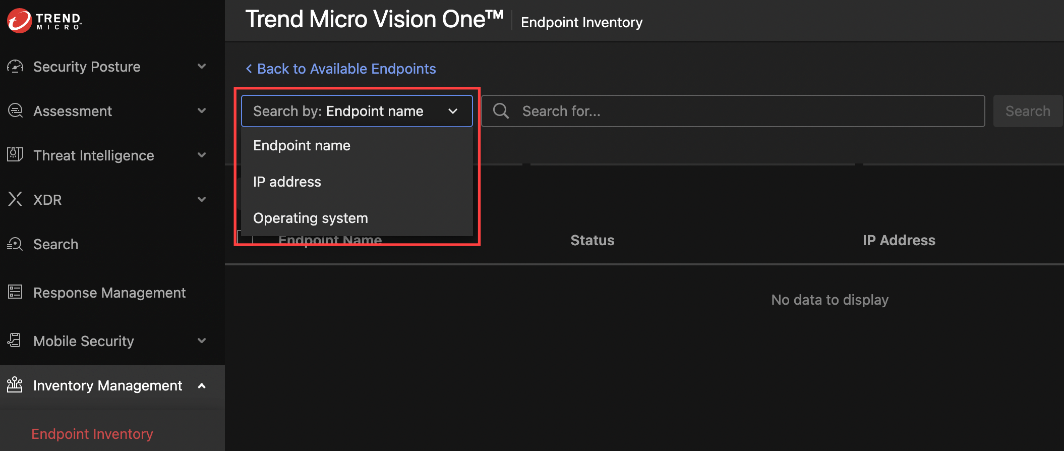 search endpoints