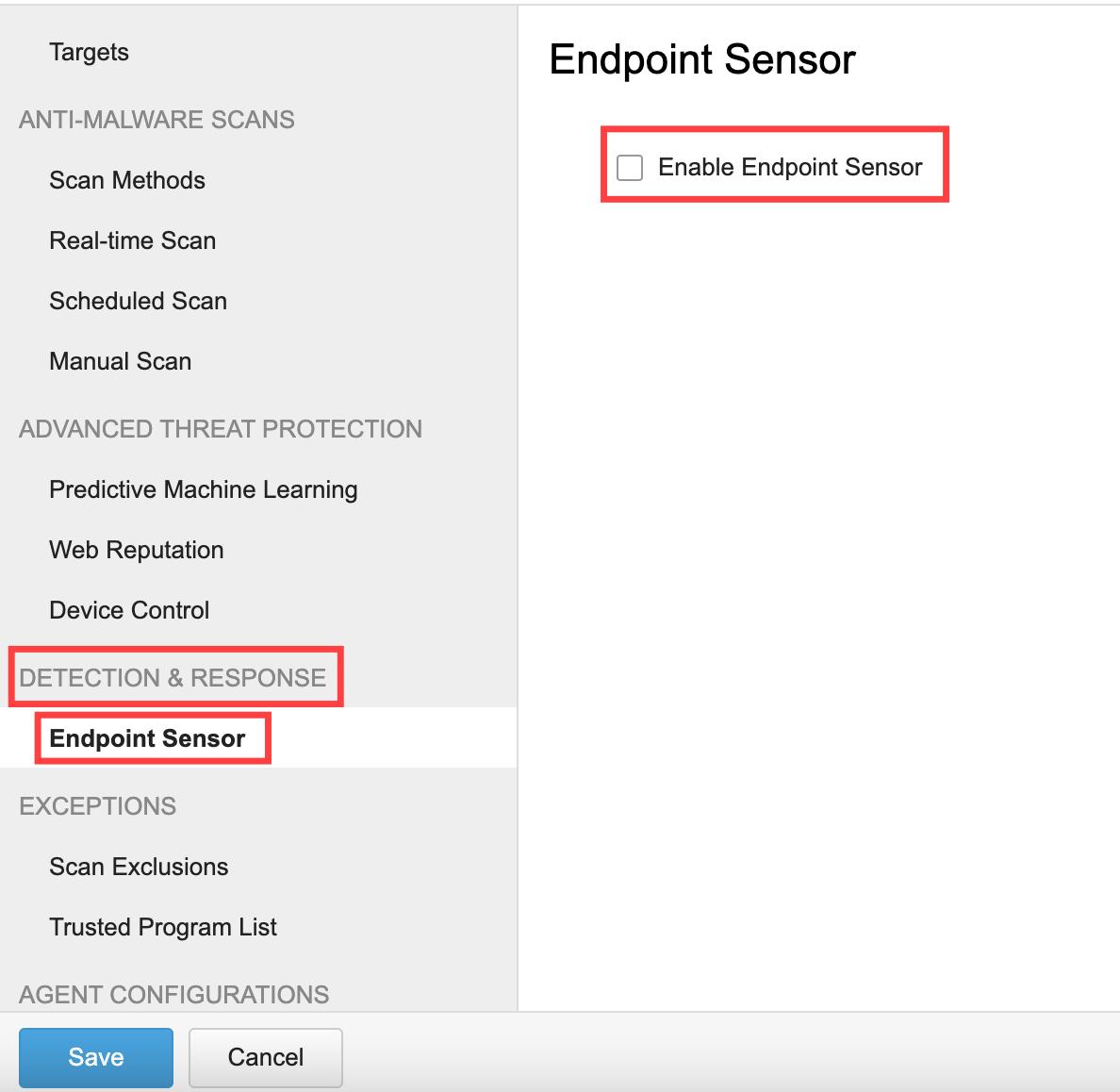 untick Enable Endpoint Sensor