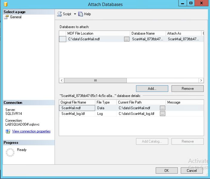 Attach Databases window