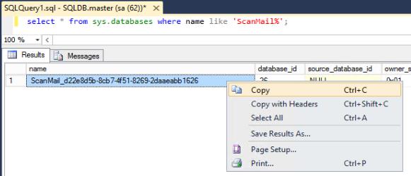 Exact name of ScanMail database