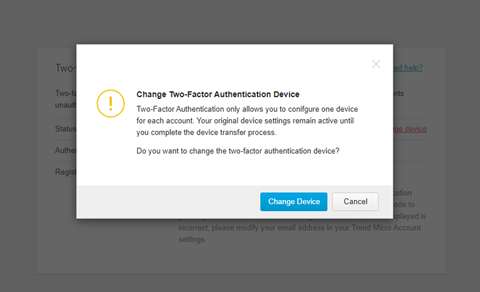 Confirm Change Device