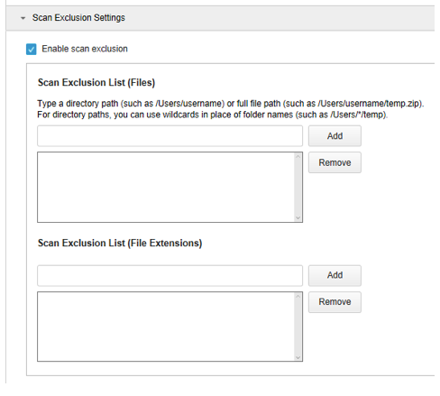 Scan Exclusion Settings