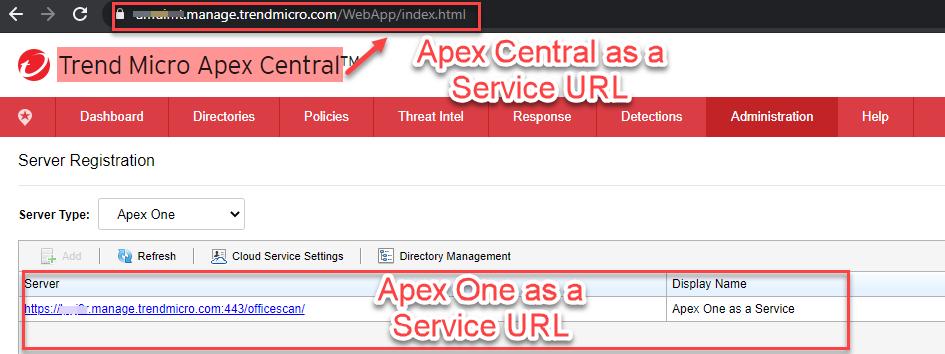 Apex Central Web Console URL