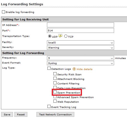 Log Forwarding Settings