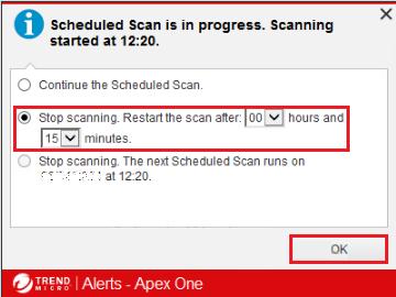 Stop scanning. Restart the scan after