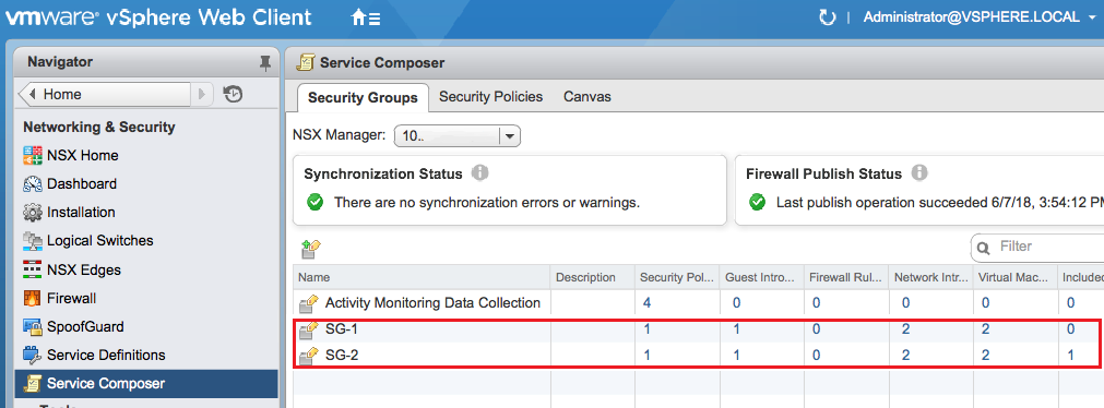 Two NSX Security Groups