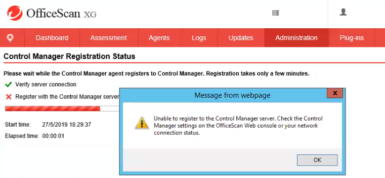 Unable to register OSCE to TMCM