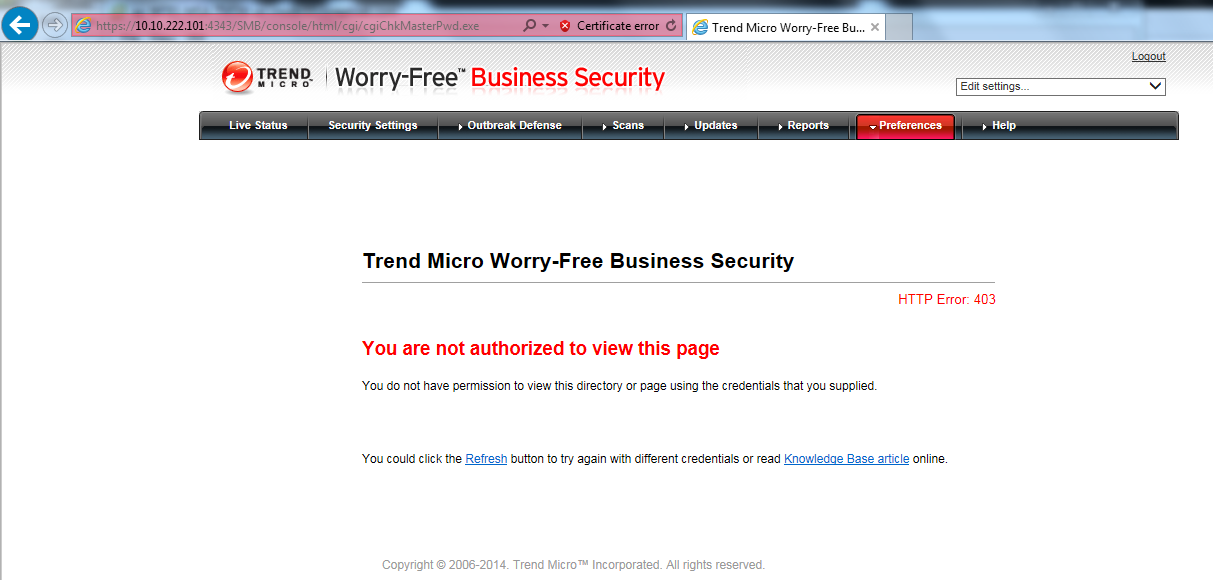 HTTP Error: 403 in TMSM for WFBS