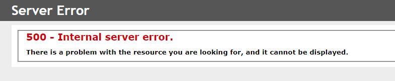 500 - Internal server error