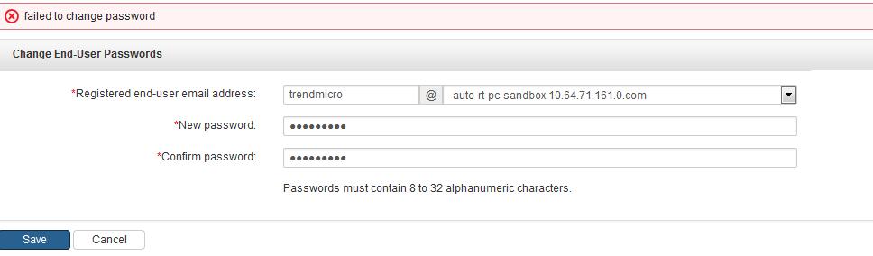 Failed to change password error message