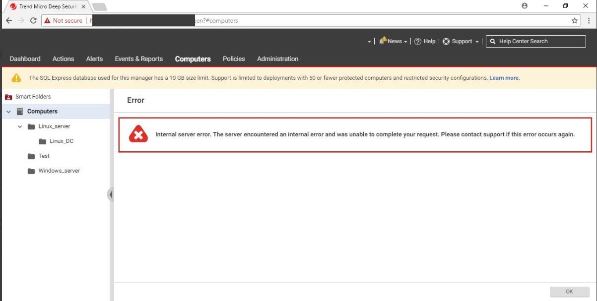 Internal server error on Deep Security Manager 10.3