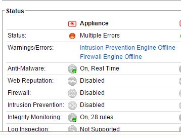 Intrusion Prevention and Firewall Engine Offline