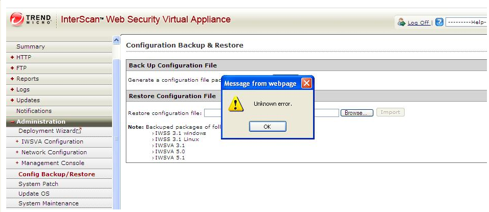 Unknown error shows in IWSVA server