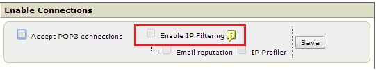 Grayed out Enable IP Filtering checkbox